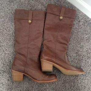 Coach Fayth Leather Boots-Size 9-cognac brown